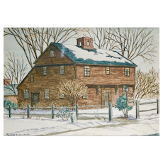 Pauline E. Woodlock Watercolor and Ink on Paper Old Indian House Deerfield Mass.