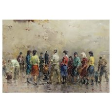 Framed Impressionist Oil Painting Mediterranean People Gather Near Water Fountain