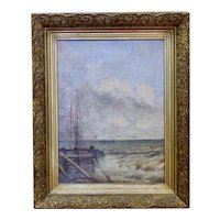 Victorian Small Oil Painting on Canvas Seascape Big Waves
