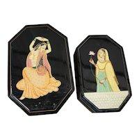 Two nested Indian Kashmiri Octangular Shape Decorated With Beautiful Ladies