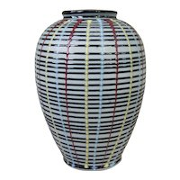 Mid Century Modern Hand Crafted Porcelain Vase with multi-color Threaded Design
