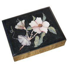 Vintage Italian Pietra Dura Jewelry Keepsake Box with Brass and Suede Leather Mount 6 X 5 inches