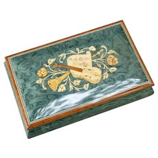 Green Italian Inlaid Wood Marquetry Music Jewel Box Torna a Sorrento Violin Clarinet