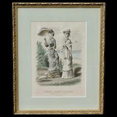 La Moda Elegante Ilustrada - Antique Fashion Print - No. 1665 Madrid - Two Lovely Ladies and a Dog