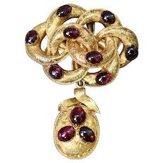 Victorian 15K Yellow Gold Almandine Garnet Love Knot Brooch Pin with Mourning Locket Removable Pendant