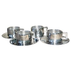 Inox by Bernard Carant Paris Set of 4 Stainless Steel Double Wall Expresso Demi Cups and Saucers