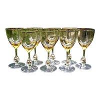 "Set 8 Atlas Water Goblets 7"" Golden Ball in Stem Citrine C1950s Bohemian Glass Space Age"