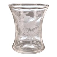 Victorian Wheel Cut Celery Vase with Swallows, Berries and Fern