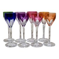 Set of 8 Baccarat Genova Cut-to-Clear Cordial Glasses Made in France