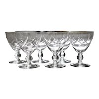 Set 6 McBride Glass Co Water Goblets Ball in Stem