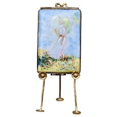 Limoges Box Claude Monet Painting Femme a l'Ombrelle on With Easel 1998 Limited Edition