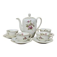 Rose of Picardy by Johann Haviland Bavaria 4-Cup Coffee Pot Demi Cup Saucer Set