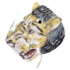 Mexican Hand Carved Folk Art Mask Wooden Jaguar Tiger Carnival Face Mask