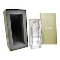 "Christofle Marly Tech Etched Crystal Vase, 9 3/4"" Mint in Box"