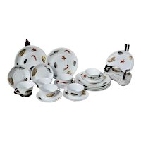 Service for 6 Chamart CNP France Oyster Seafood Plate Cup Saucer and Bone Dish Set