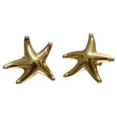 Tiffany & Co 18K Yellow Gold Starfish Earrings Elsa Peretti Medium Size