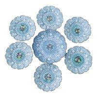 Molaroni Pesaro Italian Faience Pottery Hand Painted Blue White Bowl + 6 Plates Salad Set