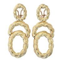 18K Yellow Gold Long Dangle Earrings Woven Silk Finish