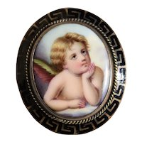 Victorian Hand Painted Chin in Hand Angel Porcelain Pin Brooch with Black Enamel Trim 14K Gold Pin