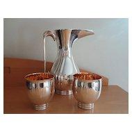 Sotirio Bulgari Bvlgari English Sterling Silver Pitcher Cups Set Rare Modernistic Design