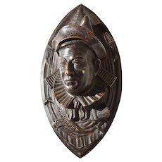 19th Century Dutch Bronze Court Jester Clown Wall Mount Match Safe