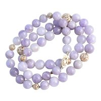 """14K Cape Amethyst Beaded Necklace 20"""" with 14K Yellow Gold Filigree Balls"""