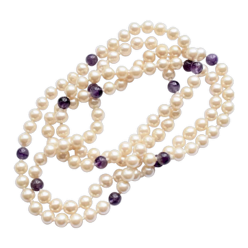 Vintage High Quality Glass Faux Pearl Genuine Amethyst Beads Necklace Pearl Rope 46 inches