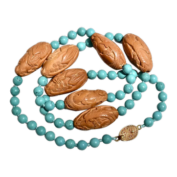 Vintage Turquoise and Chinese Carved Olive Pit Roosters Mala Bead Necklace Vermeil Silver Clasp 23 inches