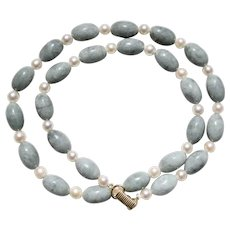 Ming's of Honolulu 14K Yellow Gold Gray Jadeite Jade Oblong Beads Cultured Pearl Necklace 22""