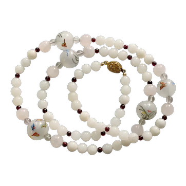 """Fabulous Chinese Inside Painting Glass Beads Reversed Painted Quartz Garnet Necklace 30"""""""