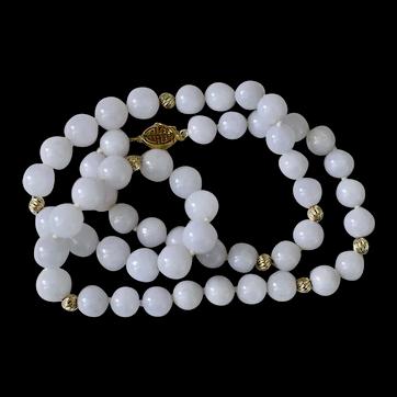 "14k Natural Lavender Jadeite Jade Beaded Necklace 22"""