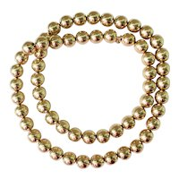 """Designer 1950s 14K Yellow Gold Round Beaded Necklace 18"""" 31.9 grams"""