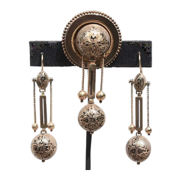 Victorian 14K Gold Pendulum Taille D'Epargne Enamel Suite Drop Earrings & Brooch Astronomical Style