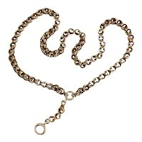 """Victorian 14K Gold 20"""" Double Belcher Watch Chain with Extender Y Necklace for Lockets or Cameos"""