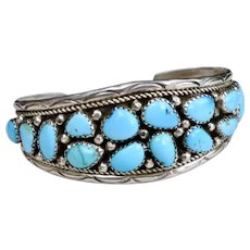 Native American Navajo Turquoise Sterling Silver Cuff Bracelet by Annie Chapo