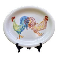 """C1998 Tiffany & Co. Tiffany Roosters Serving Stoneware Platter Made in England 14.5"""" Country Style"""