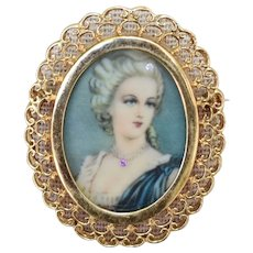 18K Yellow Gold Picture Frame Locket Pin Brooch with Filigree Boarder