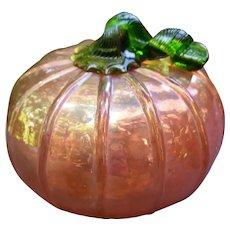 Hand Blown Iridescent Art Glass Pumpkin 4 inches