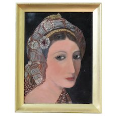 "Oil Painting Captivating Moroccan Lady Portrait on Plywood 18.5"" X 15.5"" Framed"