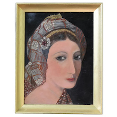 """Oil Painting Captivating Moroccan Lady Portrait on Plywood 18.5"""" X 15.5"""" Framed"""