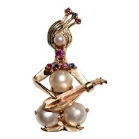 14K Gold Ruby Sapphire and Cultured Pearl Pin Brooch Middle Eastern Musician Playing Oud or Mandolin