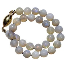 Opal Beaded Bracelet 18K Yellow Gold Clasp 8 inches