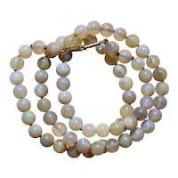 Opal Beaded Necklace 14K Yellow Gold Clasp 16.5 inches