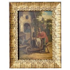 18th Century Dutch Realism Style Petit Genre Oil Painting on Wood Panel The Knife Sharpener