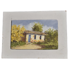 Miniature Oil Painting Country Cottage by Latin American Artist Paulo Pelez C1985
