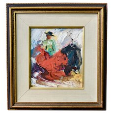 Matador Bullfighting Oil Painting by Listed Artist Zaza (Milieu) Meuli Abstract Impressionism