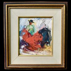Matador Bullfighting Oil Painting by Listed Artist Zaza (Milieu) Meuli Abstract Impressionism