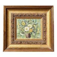 Mid Century Miniature Oil Painting on Board Still Life Mums Flowers Bouquet by V Lean Nadia Kirk Art Studio - Autumn theme