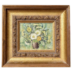 Mid Century Miniature Oil Painting on Board Still Life Flowers Bouquet by V Lean Nadia Kirk Art Studio