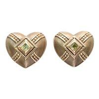 Shepel & Co. 14K Yellow Gold Peridot Heart Shaped Clip on Earrings